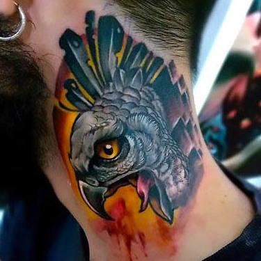 Hawk on Neck Tattoo