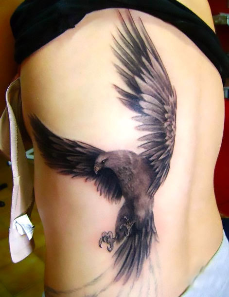 Hawk on Side Tattoo Idea