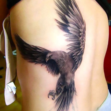 Hawk on Side Tattoo
