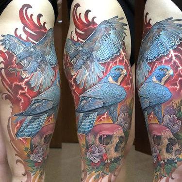 Hawk on Skull Tattoo