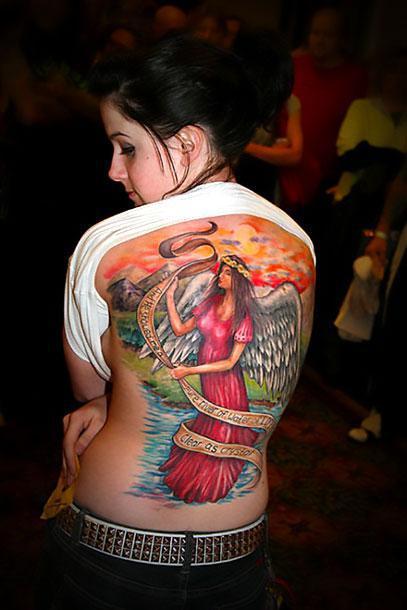 Angel on Back Tattoo Idea