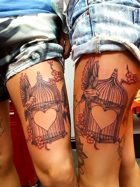 Heart Birdcages for Couples Tattoo Idea
