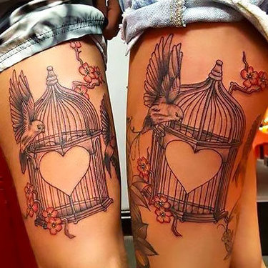 Heart Birdcages for Couples Tattoo