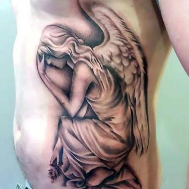 Angel on Ribs for Men Tattoo