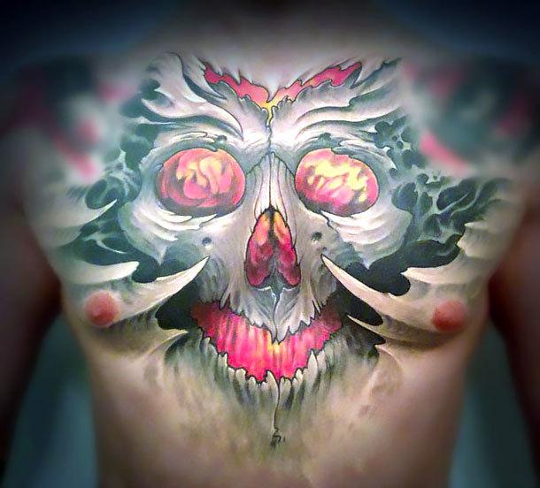 Horrible Skull on Chest Tattoo Idea