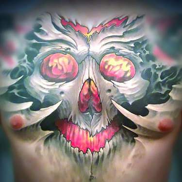 Horrible Skull on Chest Tattoo
