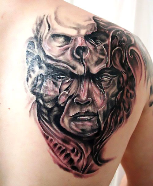 Horror Face Skull Tattoo Idea