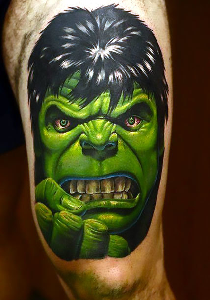 Hulk on Thigh Tattoo Idea