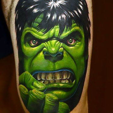 Hulk on Thigh Tattoo