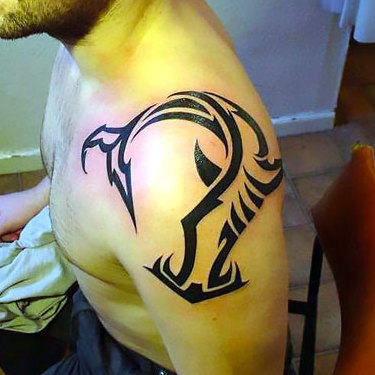 Hammerhead on Top of Shoulder Tattoo