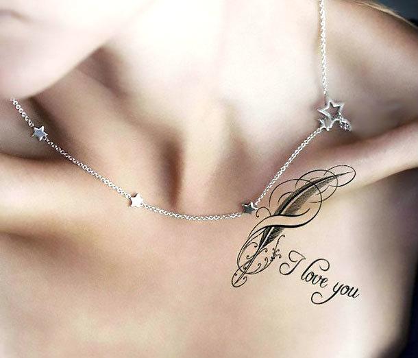 I Love You on Collar Bone Tattoo Idea