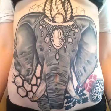Indian Elephant on Stomach Tattoo