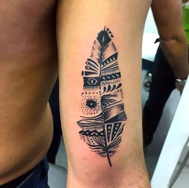 Indian Feather Tattoo Idea