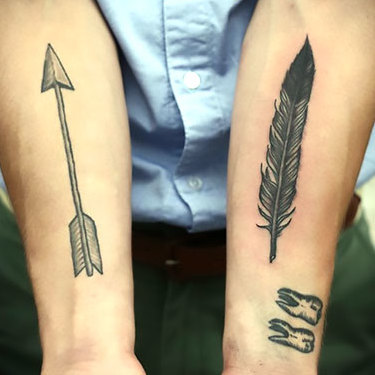 Indian Feather and Arrow Tattoo
