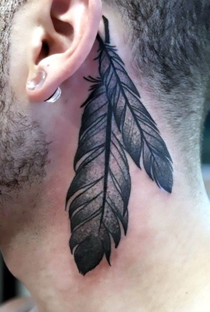 Indian Feather Behind Ear Tattoo Idea