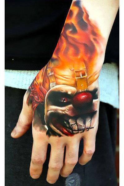 Angry Clown on Hand Tattoo Idea