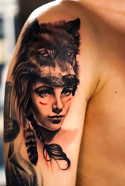 Indian Girl on Shoulder Tattoo Idea