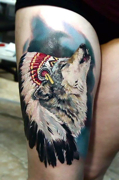 Indian Wolf on Thigh Tattoo Idea