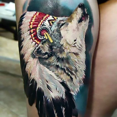 Indian Wolf on Thigh Tattoo