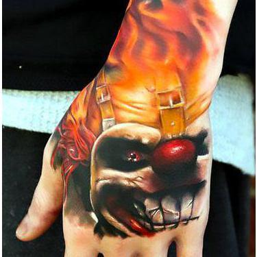 Angry Clown on Hand Tattoo