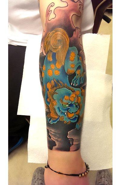 Japanese Foo Dog Demon on Forearm Tattoo Idea