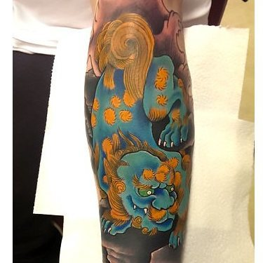 Japanese Foo Dog Demon on Forearm Tattoo
