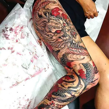 Japanese Full Leg Tattoo