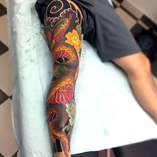 Japanese Snake on Leg Tattoo Idea