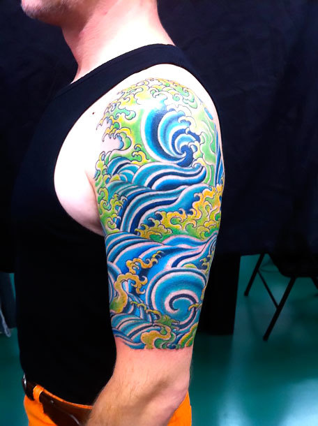 Japanese Water Half Sleeve Tattoo Idea