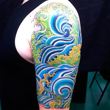 Japanese Water Half Sleeve Tattoo