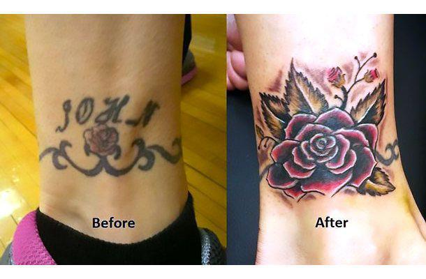 Ankle Cover Up Tattoo Idea