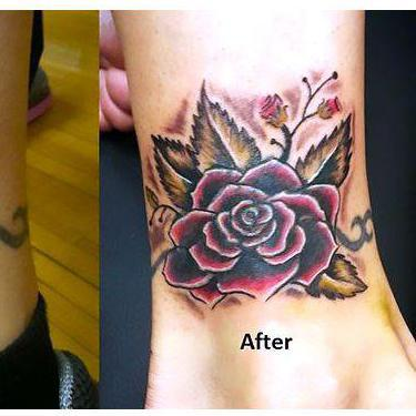 Ankle Cover Up Tattoo