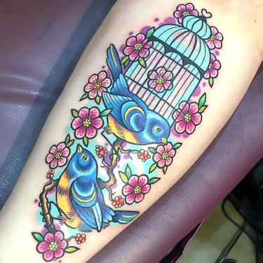 Lovely Birds and Birdcage Tattoo