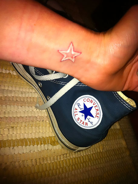 White Star on Wrist Tattoo Idea