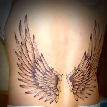 Wings for Men on Lower Back Tattoo