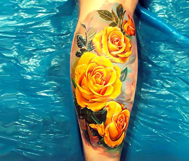 Yellow Roses Tattoo Idea