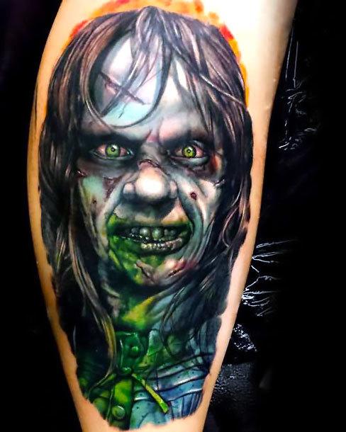 Zombie Face Tattoo Idea