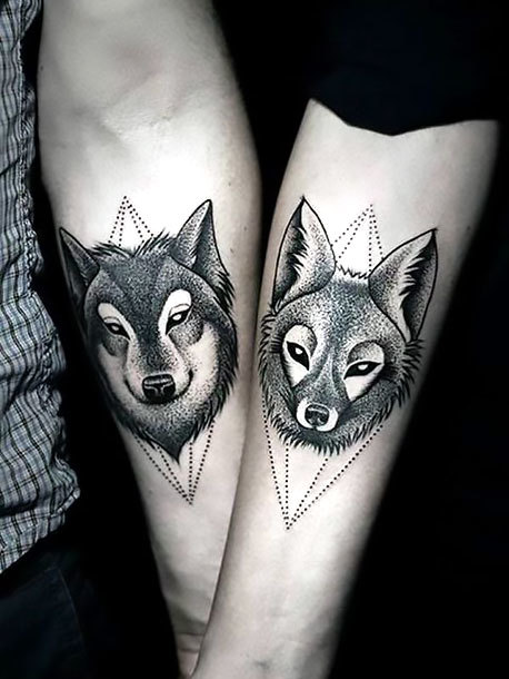 Love Wolves on Forearm Tattoo Idea