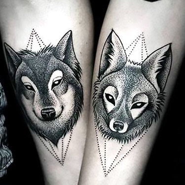 Love Wolves on Forearm Tattoo