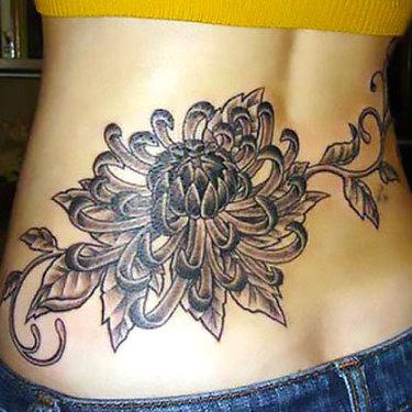Lower Back Chrysanthemum Tattoo
