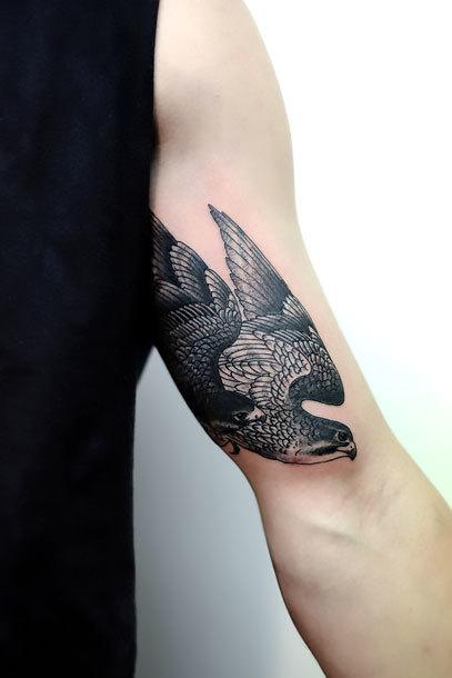 Male Hawk on Bicep Tattoo Idea