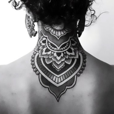 Mandala on Back of Neck Tattoo