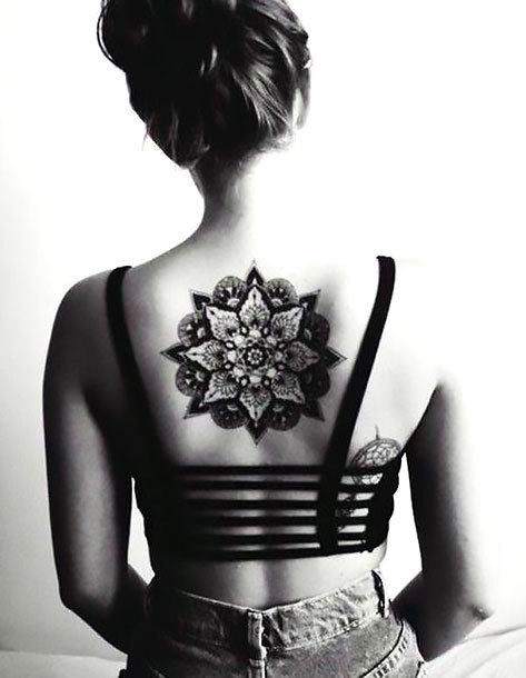 Mandala on Back for Girls Tattoo Idea