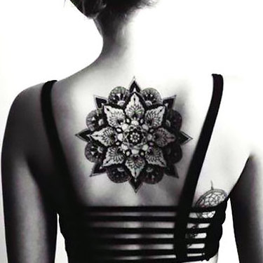 Mandala on Back for Girls Tattoo