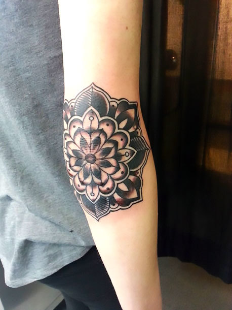 Mandala on Elbow Tattoo Idea