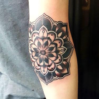 Mandala on Elbow Tattoo