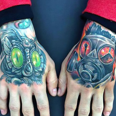 Masks on Hands Tattoo