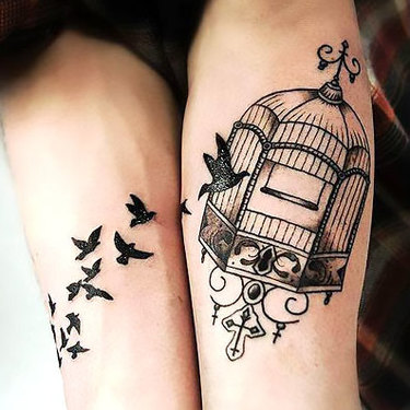 Matching Birdcage and Birds Tattoo