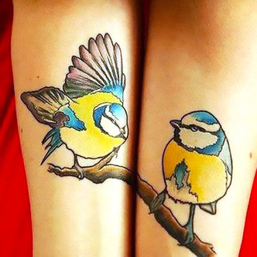 Matching Titmouse Birds Tattoo