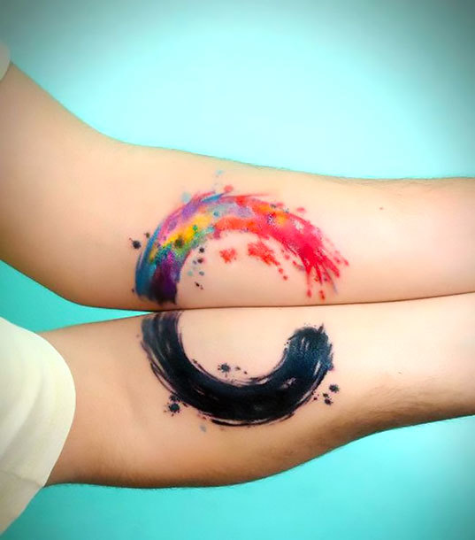 Matching Watercolor Circle Tattoo Idea